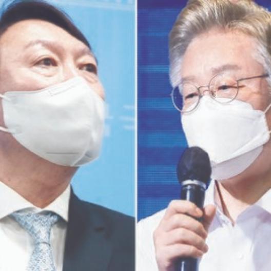이재명 37.5% vs 윤석열 33.6%···'전두환 논란' 尹 휘청 [KSOI]